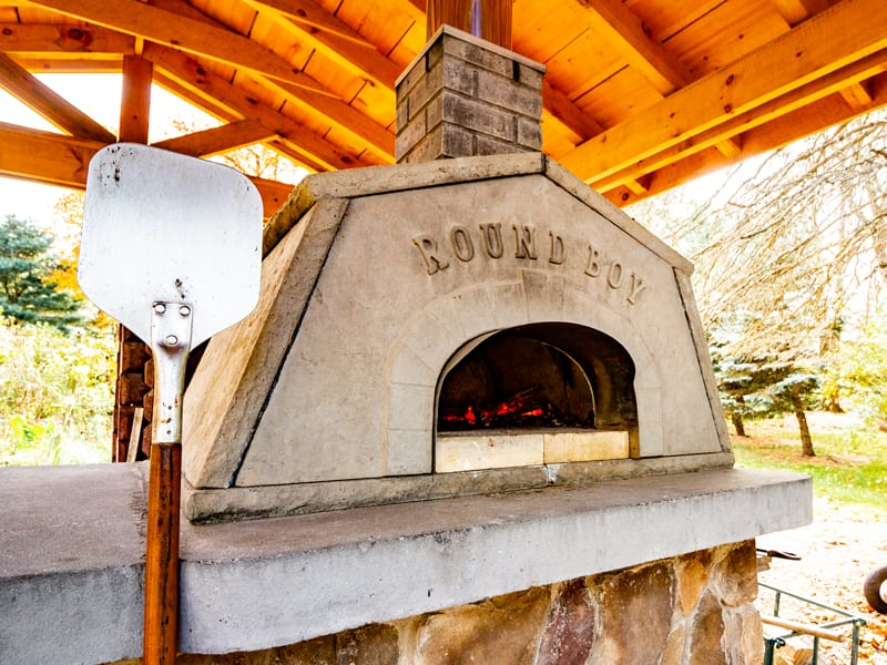 Large wood fired pizza oven at Emily's Bed and Breakfast