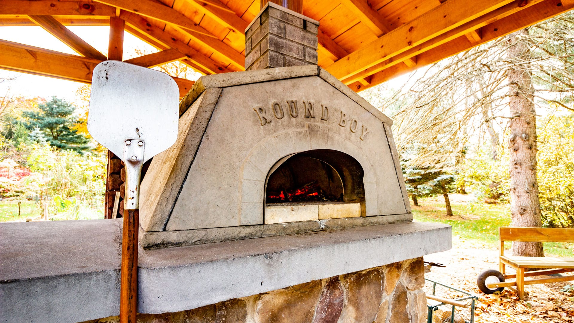 On-site wood fired pizza oven at Emily's Bed and Breakfast